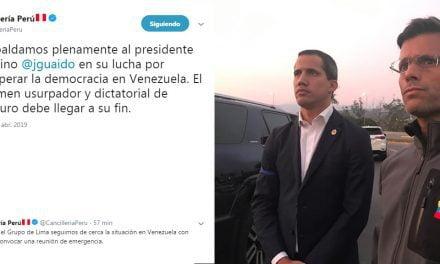 OPERACIÓN LIBERTAD EN VENEZUELA | Cancillería peruana respalda «plenamente» a Juan Guaidó