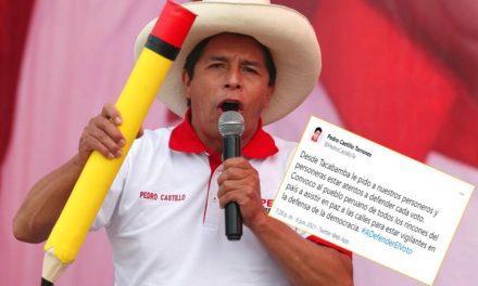 Pedro Castillo insta a sus personeros estar atentos a defender cada voto